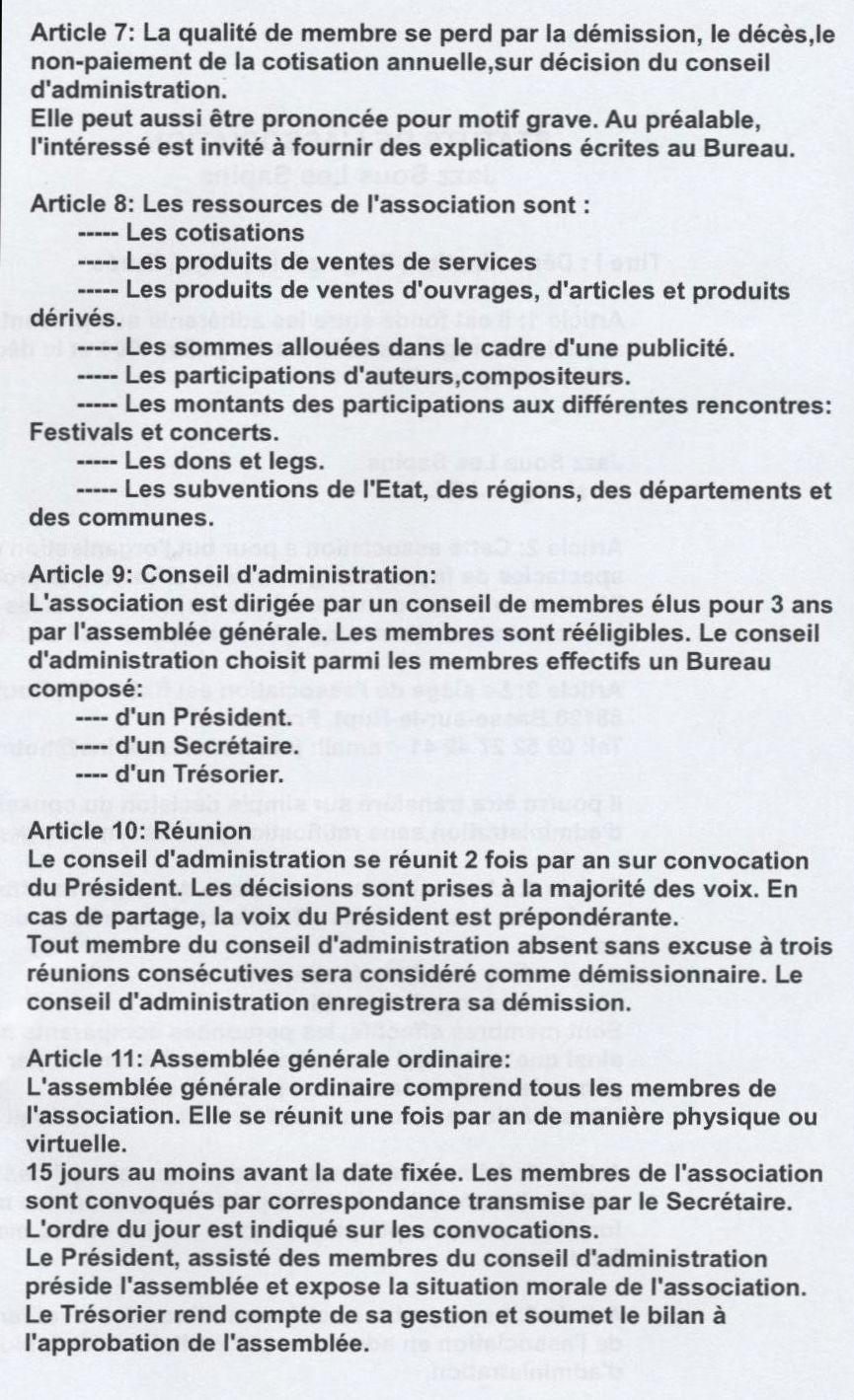 Les Statuts De L Association Jazz Sous Les Sapins